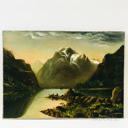 American School, 19th Century       Lakeside Scene with Mountains