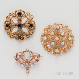 Three Gold and Opal Brooches