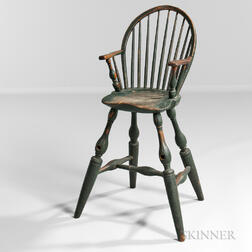 Fine Blue/green-painted Windsor High Chair