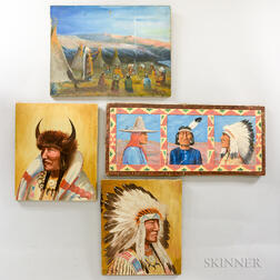Four Paintings on Canvas Depicting American Indians