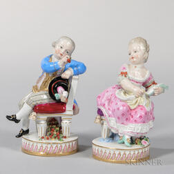 Pair of Meissen Porcelain Figures