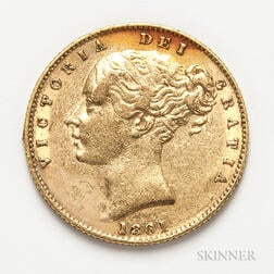 1861 British Gold Sovereign.     Estimate $300-500