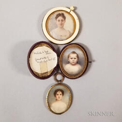 Three Framed Portrait Miniatures of Ford Family Members