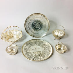 Six Reticulated Sterling Silver Tableware Items