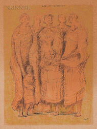 Henry Spencer Moore (British, 1898-1986)      Five Figures with Child