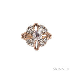 14kt Gold, Colored Diamond, and Diamond Ring