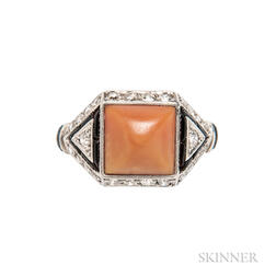 Art Deco Platinum, Coral, Onyx, and Diamond Ring