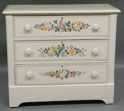 Martha and Ralph Cahoon Polychrome Paint-decorated Pine Three-drawer Chest