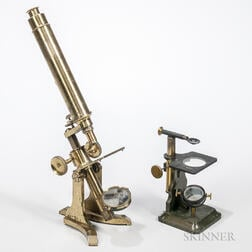 Dr. Arthur Chevalier Dissecting Microscope and an Unsigned Monocular Microscope