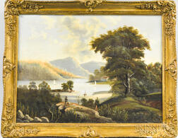 Hudson River School, 19th Century       Landscape with Boats.
