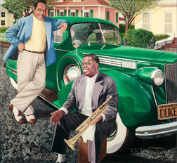 Chris Osborne (American, b. 1951)      Three Works: Louis Armstrong and Duke Ellington ,  Rita Hayworth