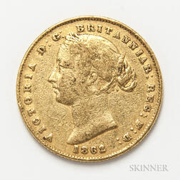 1862-S British Gold Sovereign.     Estimate $300-500