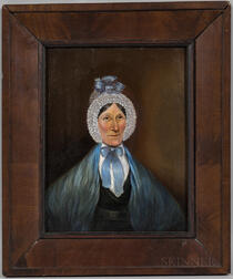 American School, Mid-19th Century      Portrait of a Woman in a Blue Shawl
