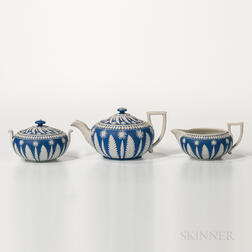 Three-piece Wedgwood Dark Blue Jasper Dip Tea Set