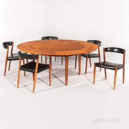 "Dyrlund Lotus ""Flip-Flap"" Table and Five Chairs"