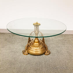 Glass-top and Bronzed Metal Table
