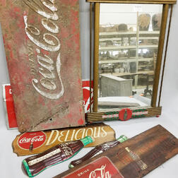 Eight Vintage and Reproduction Coca-Cola Lithographed Metal Signs.     Estimate $200-400