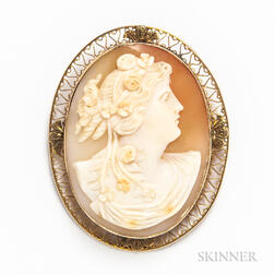 14kt Gold-mounted Cameo Brooch