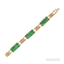 18kt Gold and Jade Bracelet, Tiffany & Co.