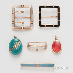 Six Pieces of Enameled Jewelry