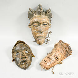 Three African Carved Masks