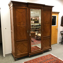 Adam's-style Inlaid Satinwood Veneer Mirrored Armoire