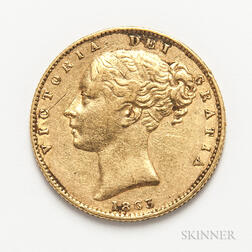 1863 British Gold Sovereign.     Estimate $300-500
