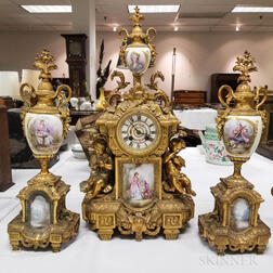 French Gilt-metal and Porcelain Three-piece Garniture