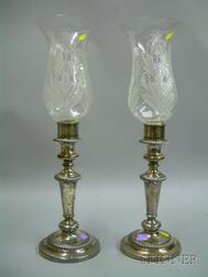 Pair of Sheffield Plate Banquet Lights with Etched Glass Hurricane Shades.