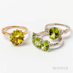 Three Gold and Peridot Rings