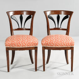 Two Continental Fruitwood Biedermeier Chairs