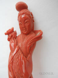 Two Coral Carvings of Guanyin