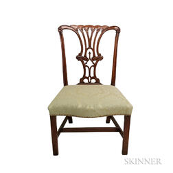 George III Carved and Upholstered Mahogany Side Chair