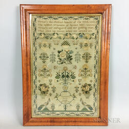 "Framed Needlework Sampler ""Hannah Russell,"""