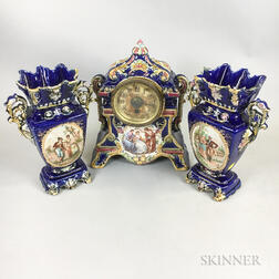 German Ceramic Three-piece Figural-decorated Clock Garniture