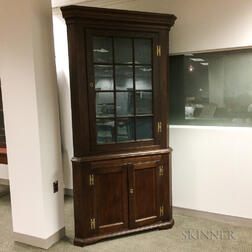 Country Glazed Maple and Pine Corner Cupboard