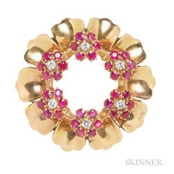 18kt Gold, Ruby, and Diamond Wreath Clip Brooch