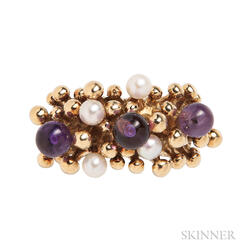 18kt Gold, Amethyst, and Cultured Pearl Ring, Stuart Devlin