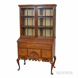 Dunlap-school Queen Anne-style Glazed Carved Maple Secretary/Bookcase
