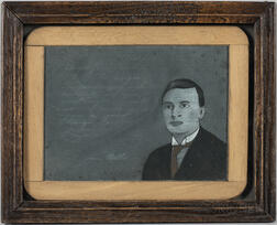 Portrait of a Young Man on a Framed Slate Board