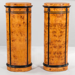 Pair of Neoclassical-style Burlwood Oval Hat Cabinets