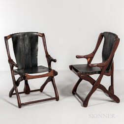 Two Scandinavian Modern Walnut and Leather Folding Chairs