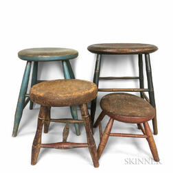 Four Painted Bamboo-turned Stools