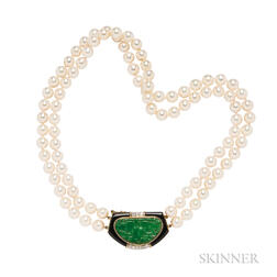 18kt Gold, Cultured Pearl, Jade, Onyx, and Diamond Necklace, Trio