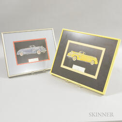 Two Framed 1939 Packard Super-8 Convertible Automobile Prints