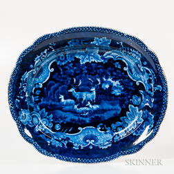 Transfer-printed Historical Blue Staffordshire Platter