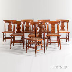Set of Eight Classical Tiger Maple Side Chairs