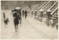 Martin Lewis (American, 1881-1962)      Stoops in Snow