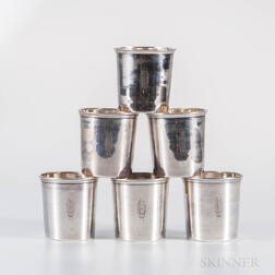 Six French .950 Silver Beakers