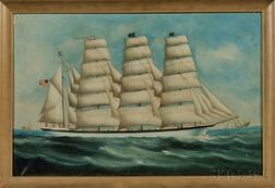 American School, Late 19th/Early 20th Century      Portrait of the Four-masted Steel Barque Dirigo   in Coastal Waters.